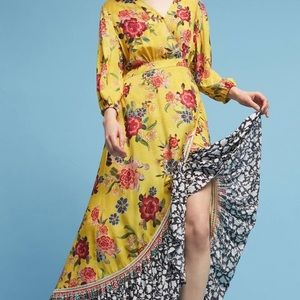 Anthropologie Farm Rio floral wrap maxi dress